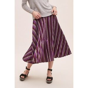 NWOT Beatrice B Metallic-Pleated Maxi Skirt